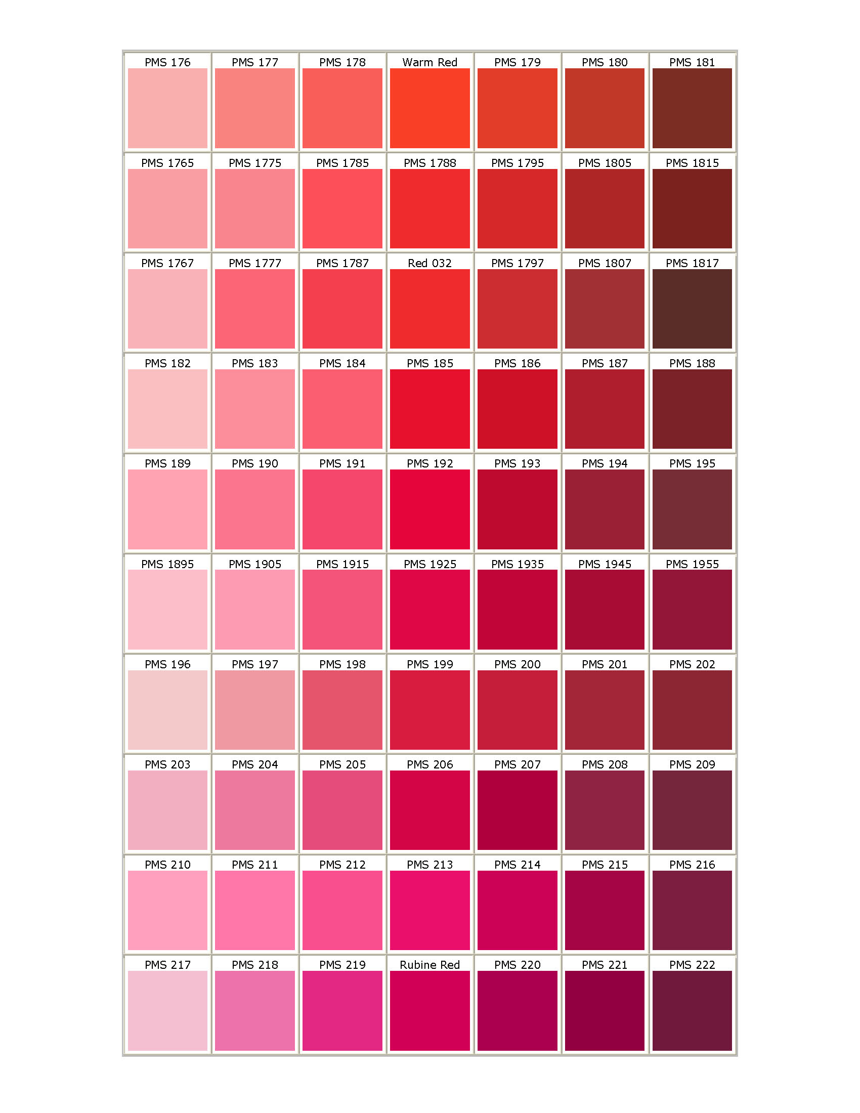 Images Of Pantone Color Chart Red Spacehero